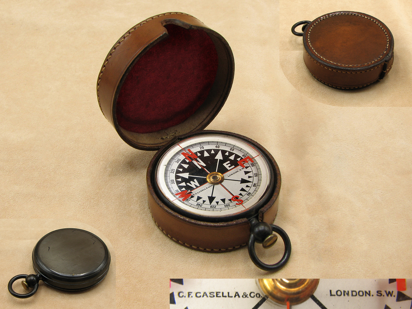 Casella Edwardian pocket compass in leather case circa 1910