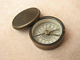 19th century brass cased pocket compass signed F.Barker & Son.