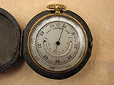 19th Century pocket barometer & altimeter with curved thermometer.