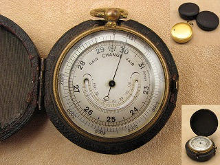 19th Century pocket barometer & altimeter with curved thermometer