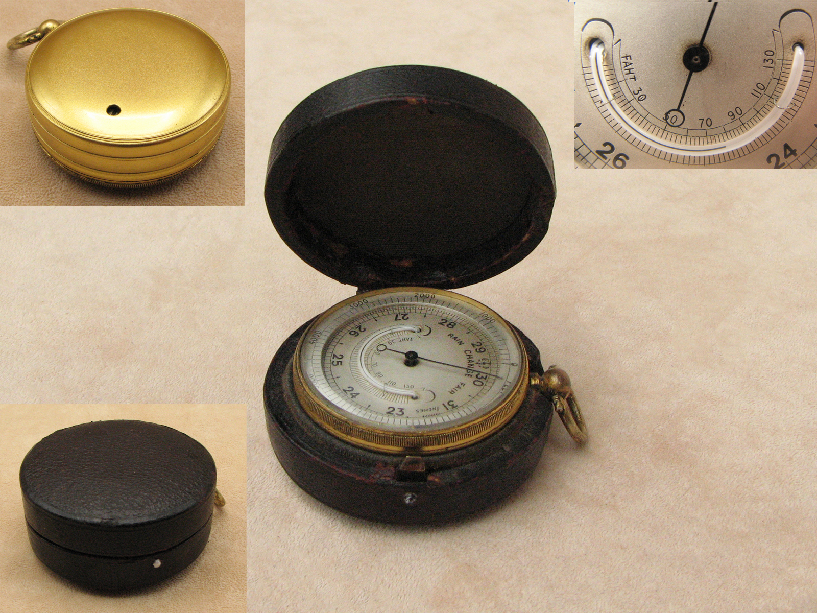 19th Century pocket barometer with curved thermometer in case