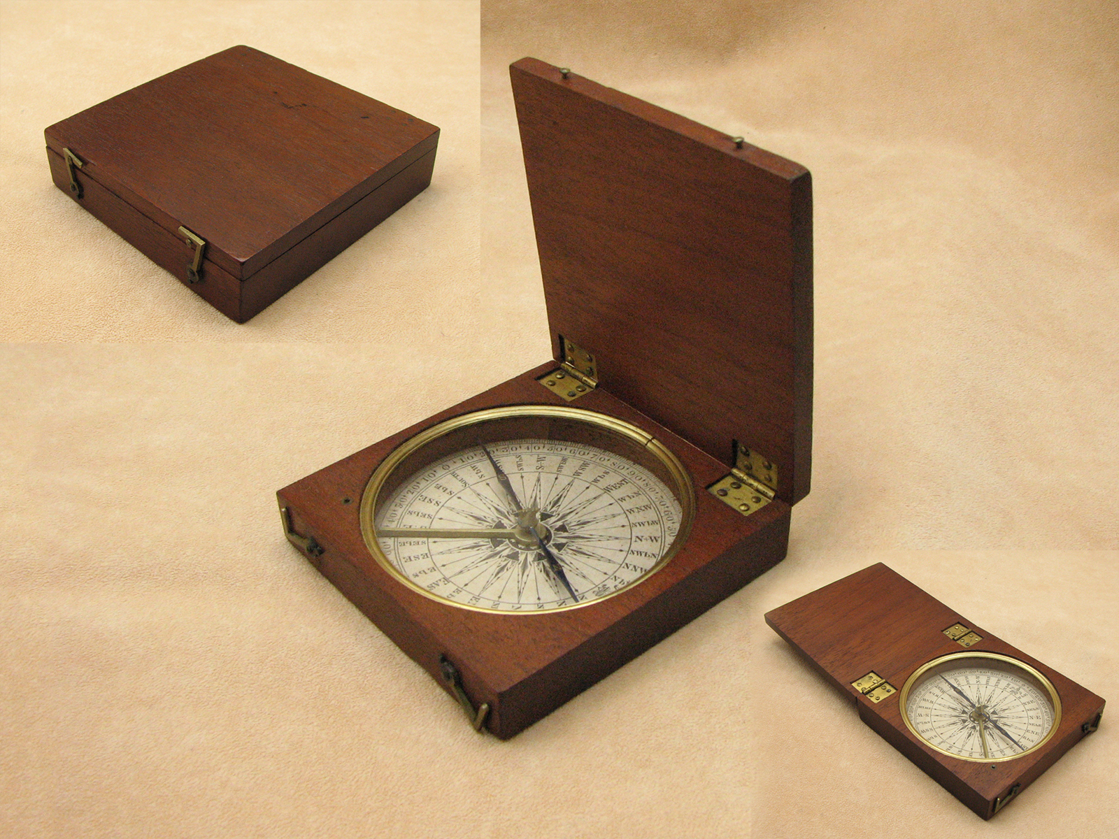 Georgian mahogany cased pocket compass circa 1820 in exceptional condition