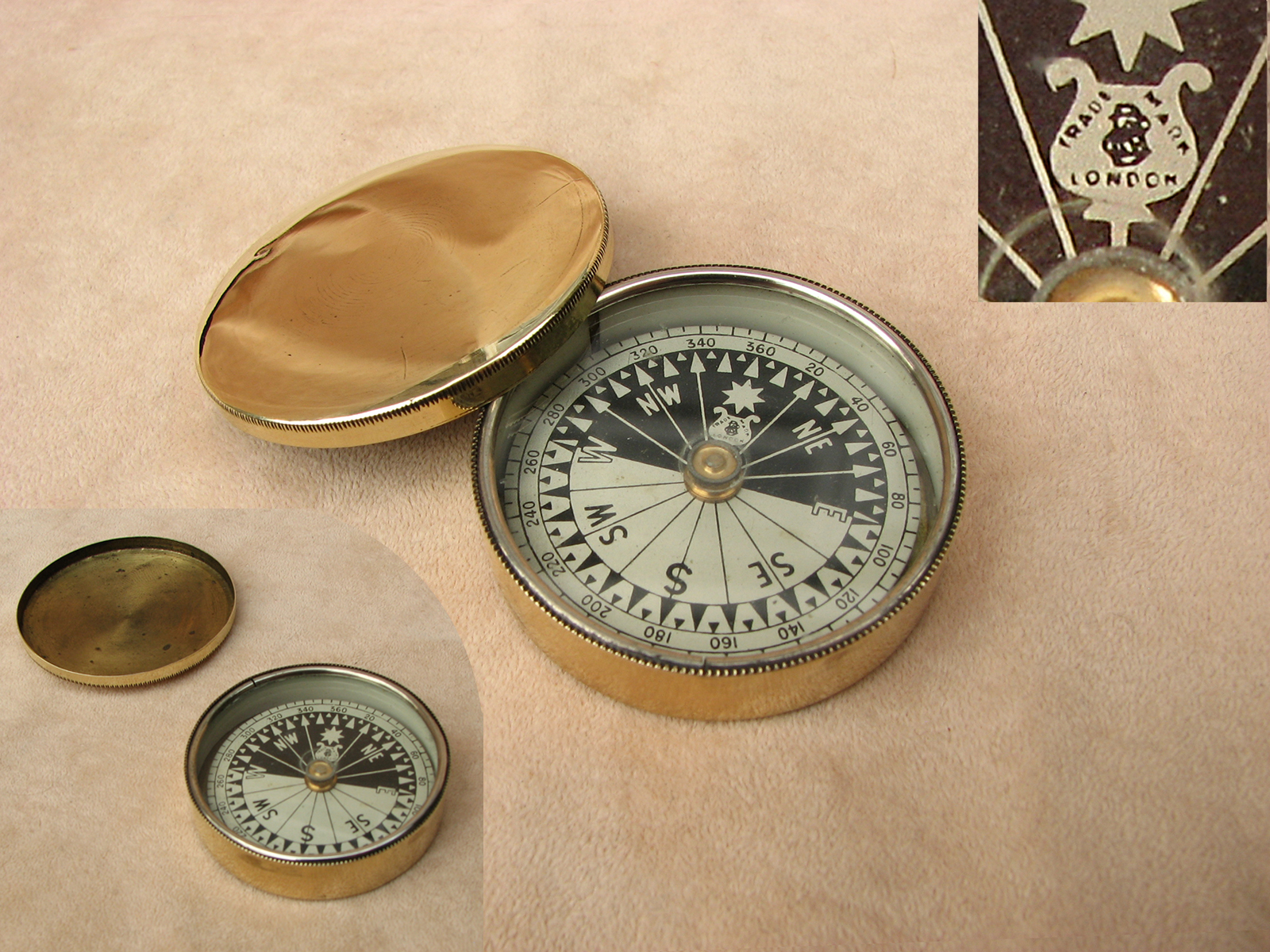 Francis Barker 19th Century brass case pocket compass