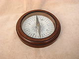 Late 19th century Francis Barker mahogany desktop compass with Trademark London logo