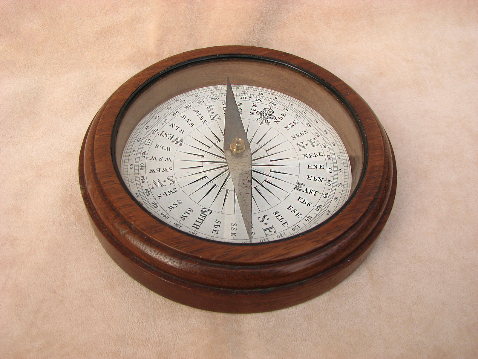 Francis Barker & Son mahogany desktop compass with Trademark London logo