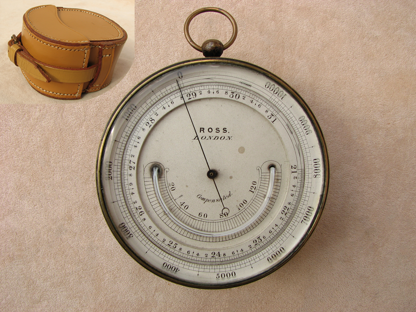 19th century pocket barometer & altimeter with thermometer signed Ross London