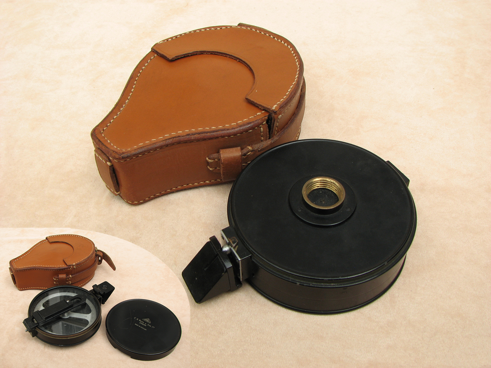 1920's Artillery compass by E.R. Watts & Son Ltd in leather case