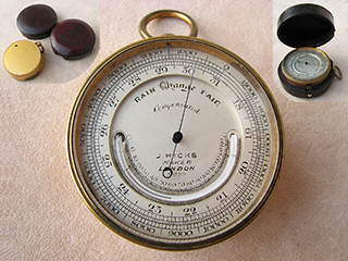 Late 19th Century Hicks pocket barometer with curved thermometer