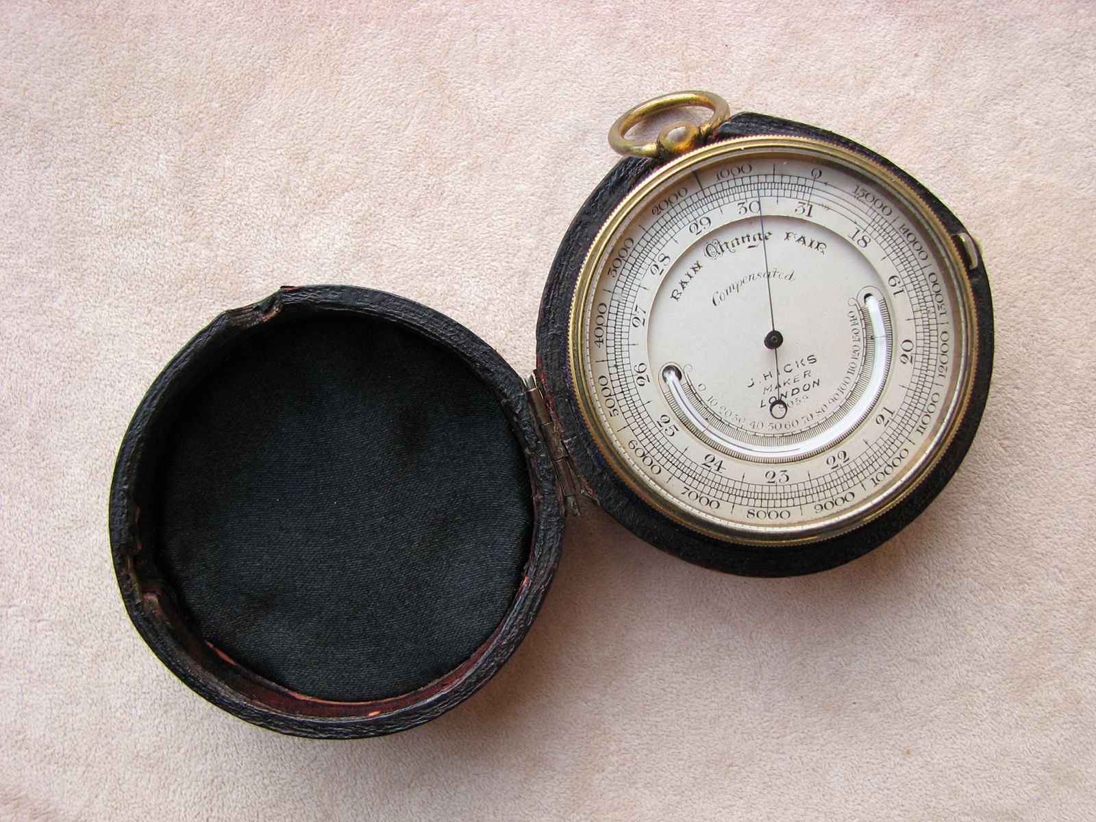 19th century J. Hicks pocket barometer and altimeter with case
