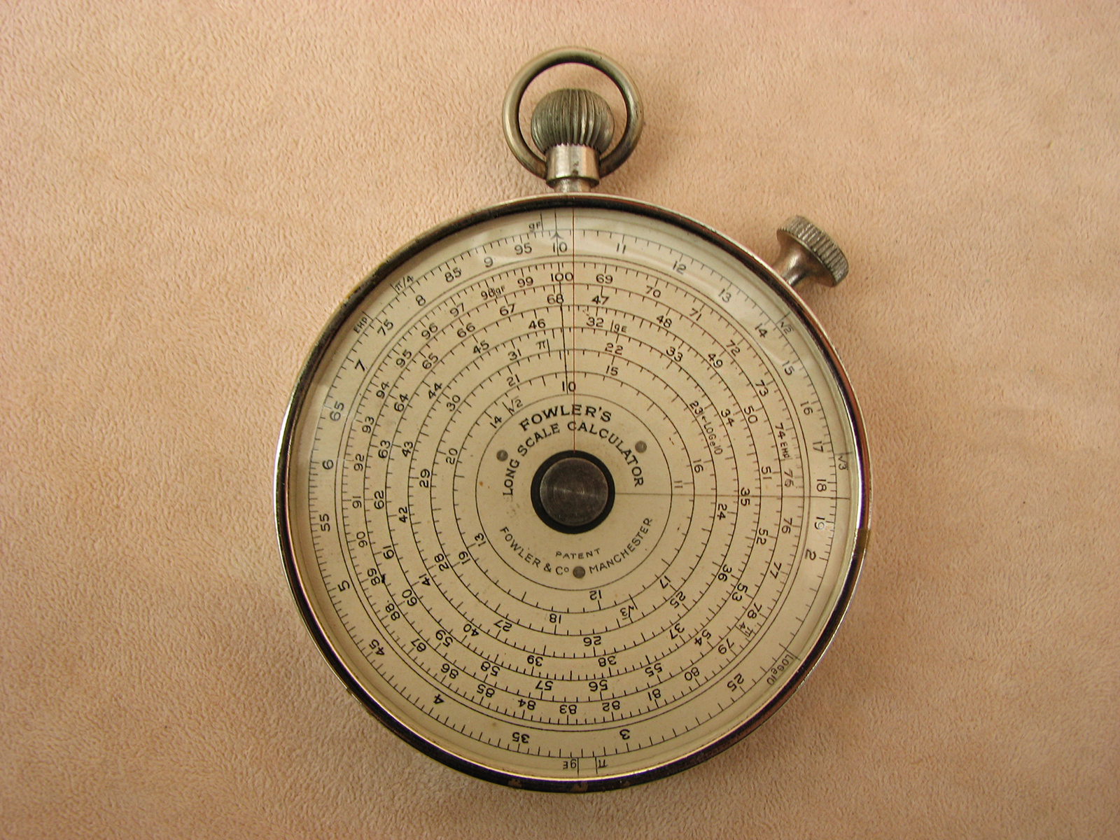 1930's Fowlers Vest pocket Long Scale calculator in nickel case