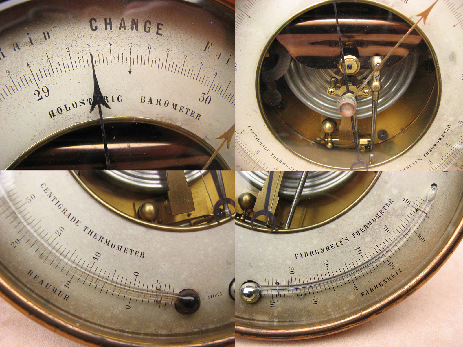 Pertuis Hult & Naudet Holosteric barometer with twin thermometers circa 1870