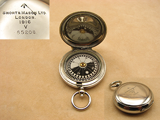 WW1 Short & Mason MK V Military Officers compass dated 1916