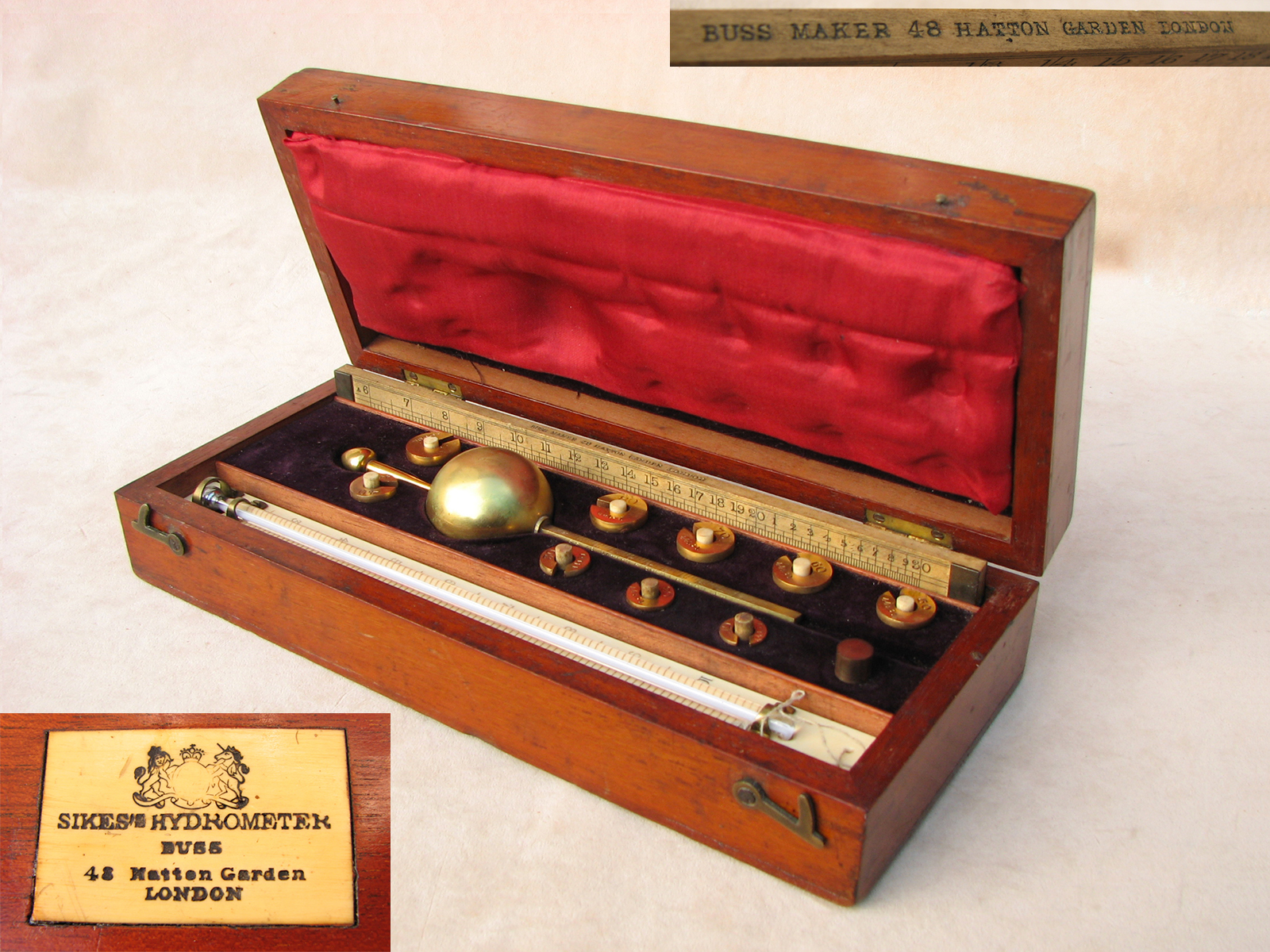 19th century Sikes hydrometer set by T O Buss with book of spirit tables