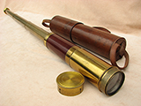 3 draw marine telescope with original leather case signed FHT Crust