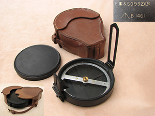 WW2 Francis Barker artillery compass with leather case.
