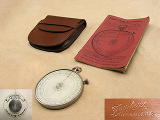 1920's Fowler's Type B Textile calculator in leather case with original instruction booklet.
