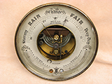 Antique ships barometer with twin thermometers signed Whyte & Co, Glasgow.