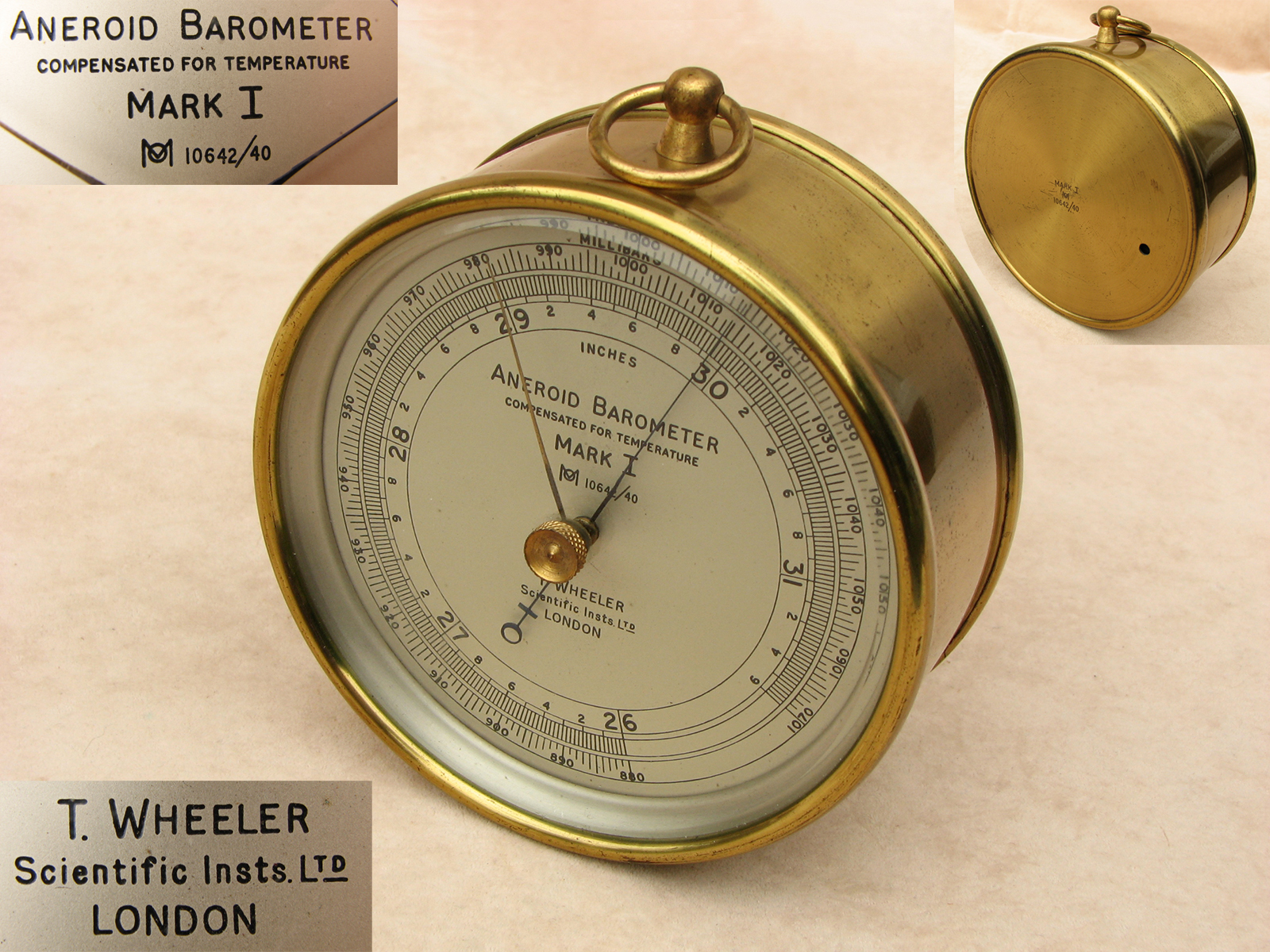 1940s Mark 1 Air Ministry aneroid barometer by T Wheeler