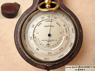 Antique pocket barometer with curved thermometer by John Davis & Son (Derby)