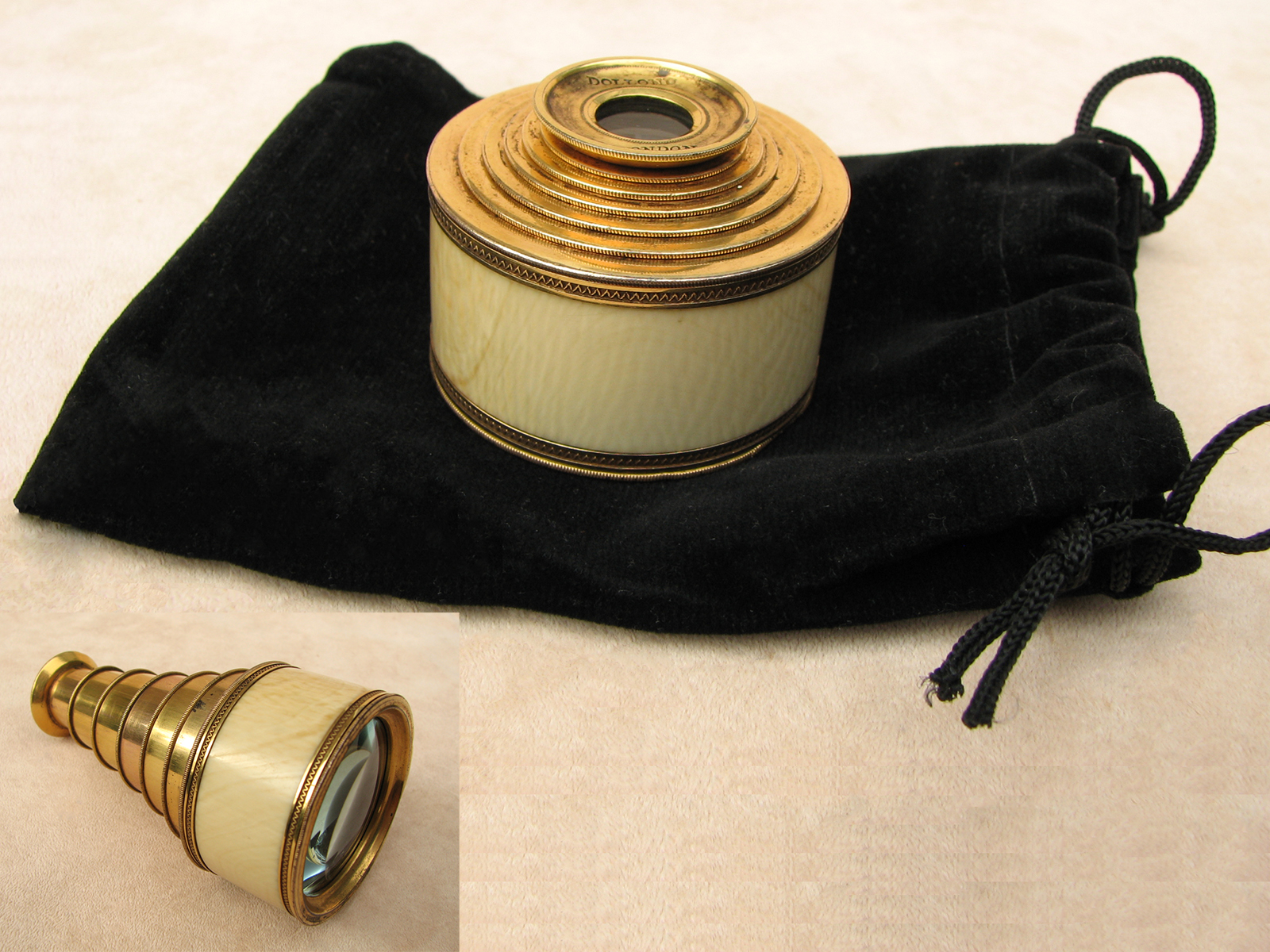 Rare Regency period monocular spyglass signed DOLLOND LONDON