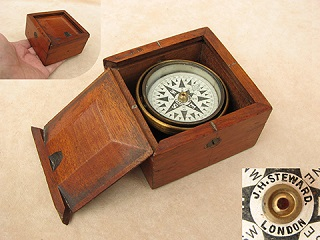 J H Steward 19th century small gimbaled mariners compass