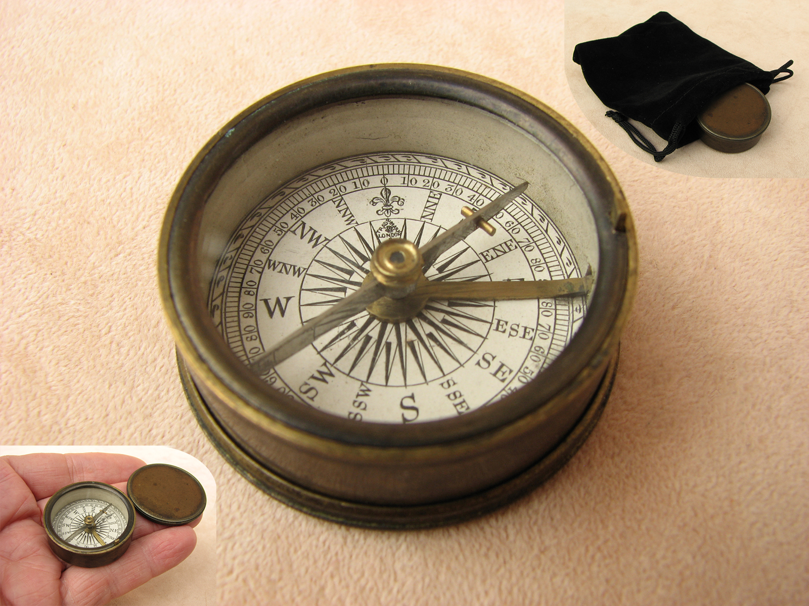 Antique Francis Barker brass cased compass circa 1880