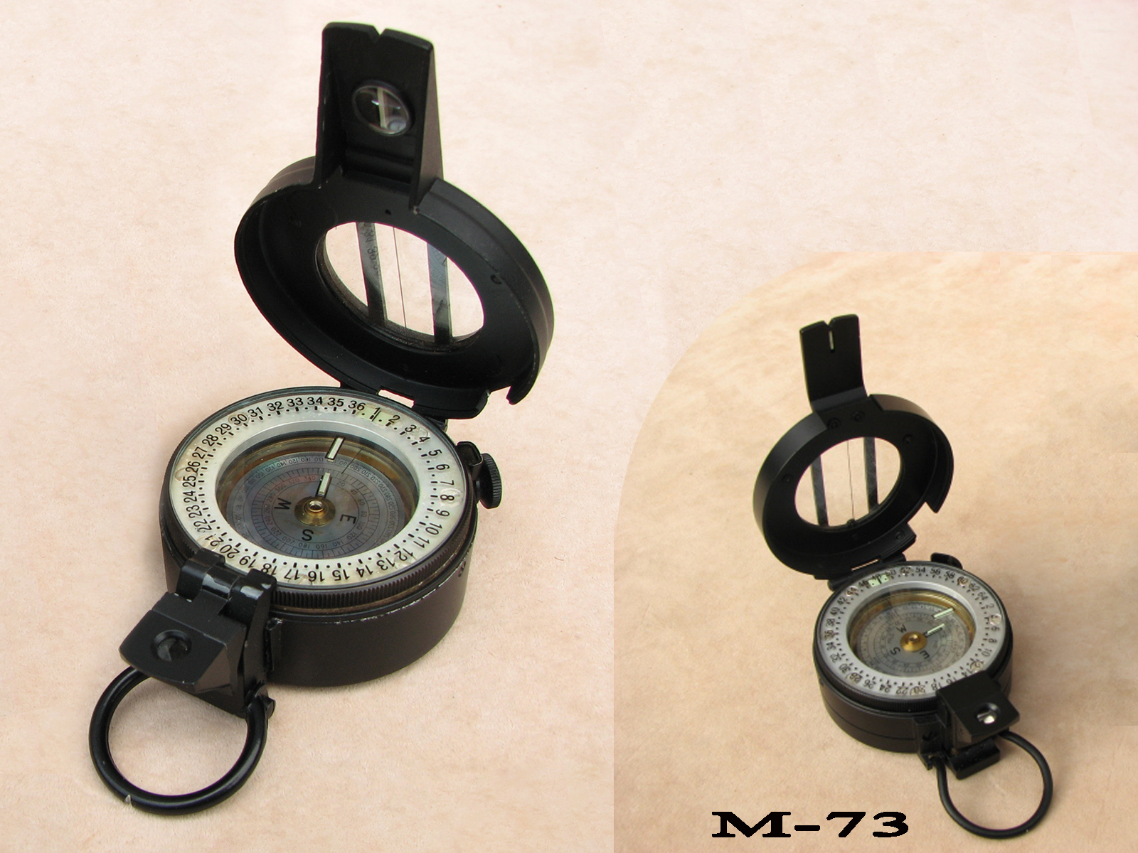 M73 specification prismatic compass by Enbeeco