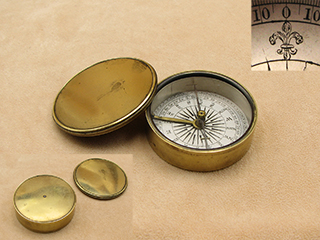 19th century brass cased compass with lid