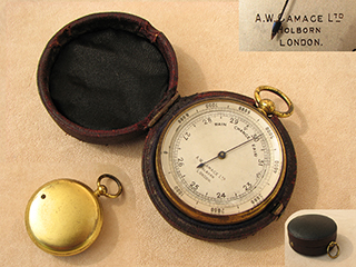 Victorian Pocket Barometer signed A.W. Gamage Ltd. Holborn London  - Circa 1885