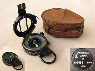 WW2 J.M. Glauser MK IX prismatic marching compass with case