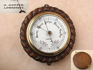 Late 19th century marine barometer signed G. GOFFIN LOWESTOFT in Oak surround