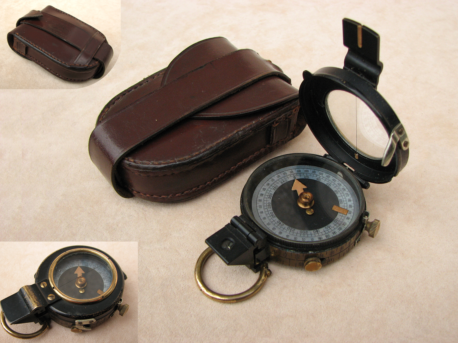 WW1 era Verner's Pattern MKVIII prismatic marching compass in case