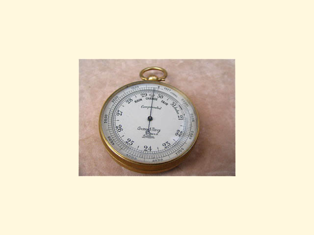 Army & Navy pocket barometer with altimeter ring
