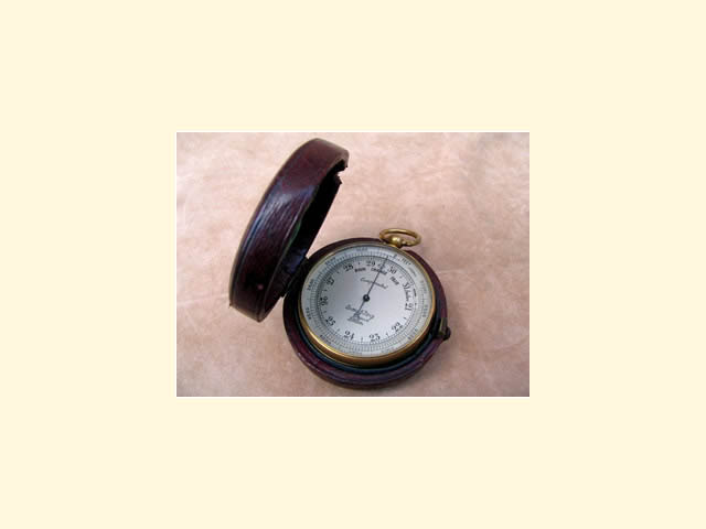 Army & Navy pocket barometer in leather case