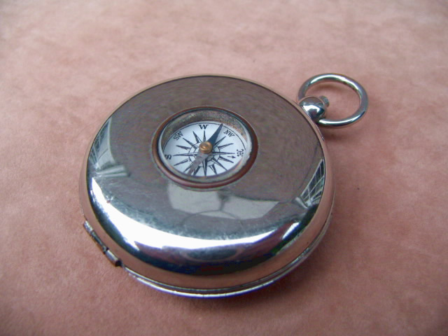 Top view of case with compass in lid