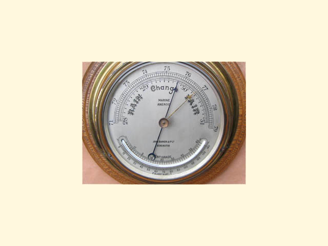 Close up view of dial with thermometer