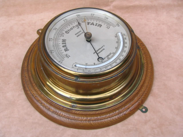 Large Ships aneroid barometer with thermometer circa 1910
