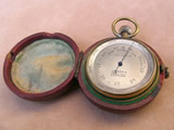 Small 19th century pocket barometer with case
