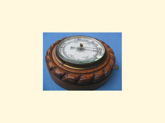 Rope twist aneroid barometer by J Hall Opticians, Bradford