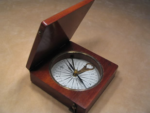 19th century polished brass compass with mother of pearl dial