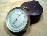 19th century pocket barometer with thermometer, Dixey New Bond St London