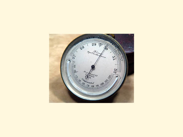 19th C Dixey pocket barometer with curved thermometer