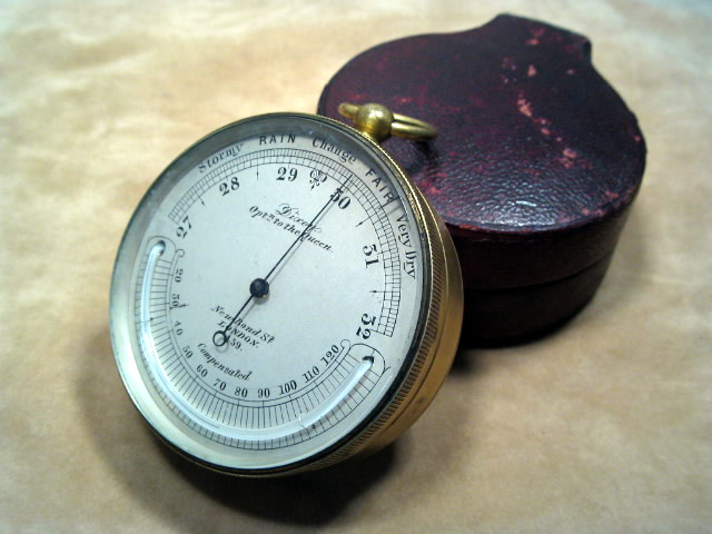 19th century pocket barometer & thermometer by Dixey London