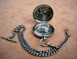 1916 Officers pocket compass with double albert chain