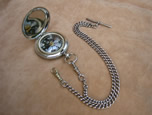 Antique pocket compass with Hall marked silver chain