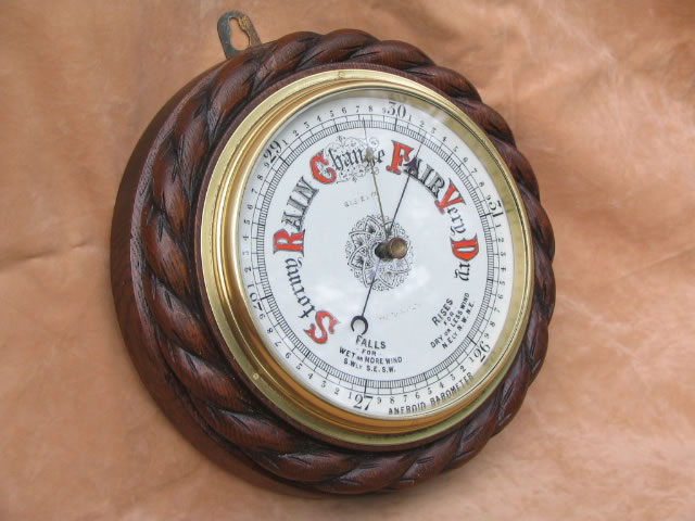 19th century rope twist aneroid barometer