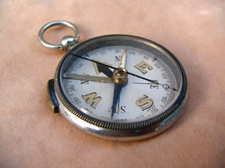 Nickel plated open face pocket compass
