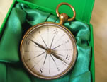 19th century brass pocket compass in modern case