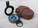 Vintage MK IX prismatic marching compass with leather case