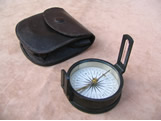 19th century pocket compass in leather case